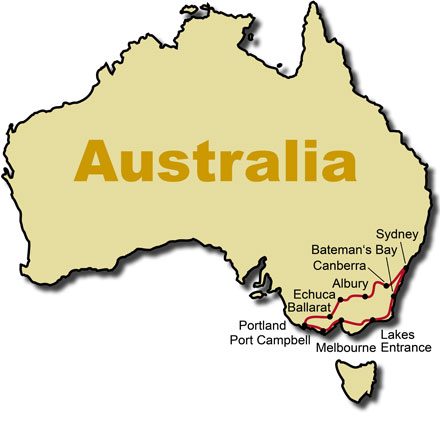 The Route for the Australia Down Under KeaRider Motorcycle Tours