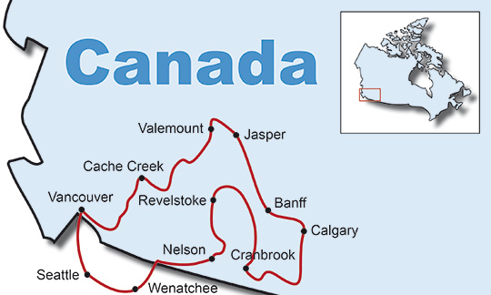 Map Of Canada Vancouver To Calgary.Motorcycle Tours Canada Rockies Bike Tour