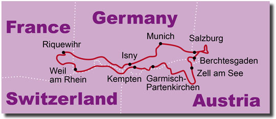 The Route for the Europe Alps + Lakes KeaRider Motorcycle Tours