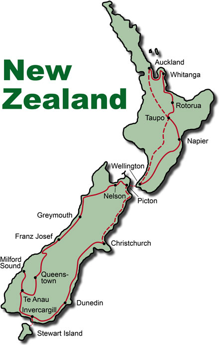 Neuseeland Highlights Map