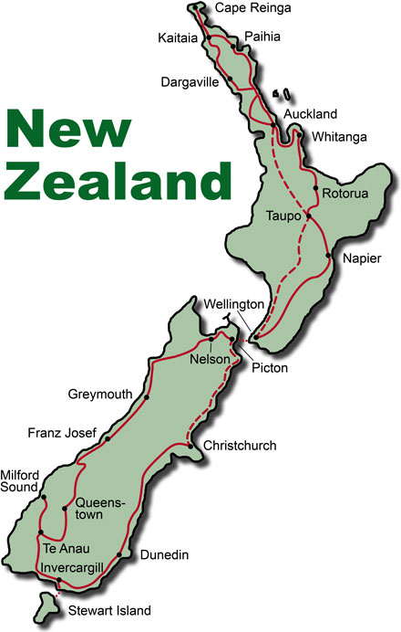 The Route for the New Zealand Paradise KeaRider Motorcycle Tours