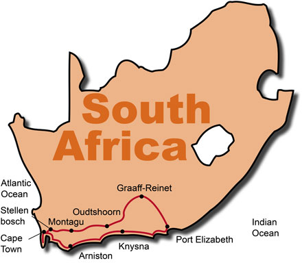 Map Of Route 62 South Africa.Motorcycle Tours South Africa Wild Garden Bike Tour