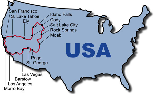 The Route for the USA Best Of West KeaRider Motorcycle Tours