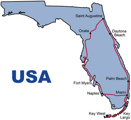The Route for the USA Florida Sunshine KeaRider Motorcycle Tours