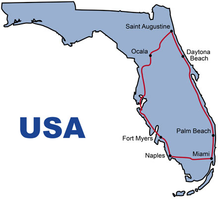 The Route for the USA Florida History KeaRider Motorcycle Tours