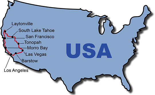 The Route for the USA Highway 1 KeaRider Motorcycle Tours
