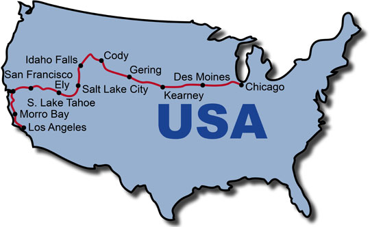 The Route for the USA Pony Express KeaRider Motorcycle Tours
